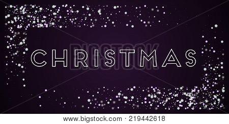 Christmas Greeting Card. Beautiful Falling Snow Background. Beautiful Falling Snow On Deep Purple Ba