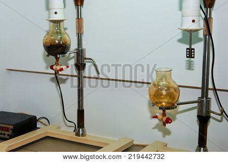 Laboratory equipment for oil analysis. Oil analysis is the laboratory analysis of a lubricant's properties, suspended contaminants, and wear debris.