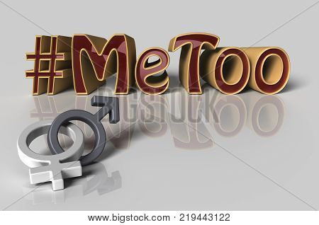 3D Illustration. Hashtag Me too in red letters on white background as trending social-media movement against sexual harassment with the male and female symbols