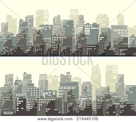 Horizontal wide banners of stylized big city with downtown and skyscrapers in pastel tone.