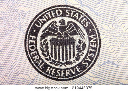 Federal Reserve icon on a fifty dollar bill. High resolution photo.