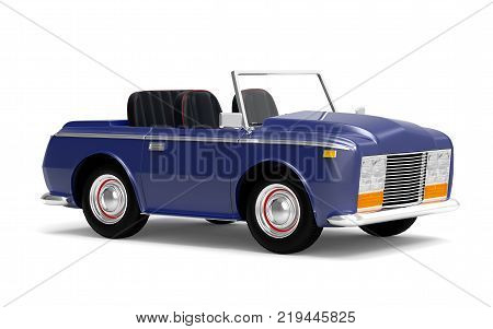 Luxury car cabriolet in cartoon style vintage 70s. 3d illustration