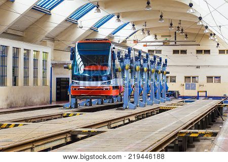 Prague - September 20, 2014: Undercarriages for maintenance of tram wagons in workshop of subway depot in Prague on Open Doors Day on September 20, 2014 in Prague Public Transport Company