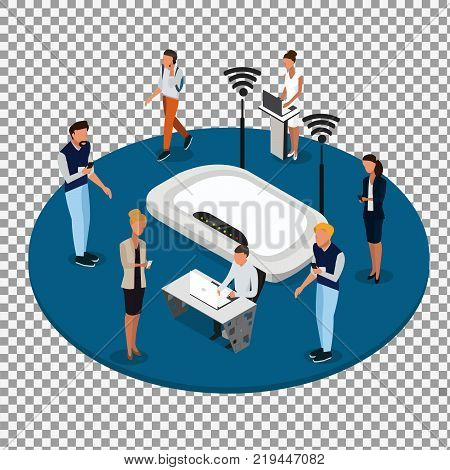 Vector concept of wireless technology devices on transparent background. Flat  isometric poster with router and isometric people. -stock vector