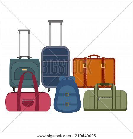 Vector illustration of travel bags on white background