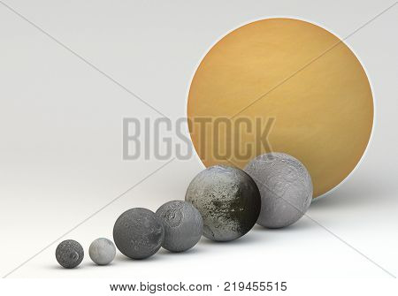 This image represents the comparison between the moons of Saturn in size comparison in a precise and scientific design.This is a 3d rendering.
