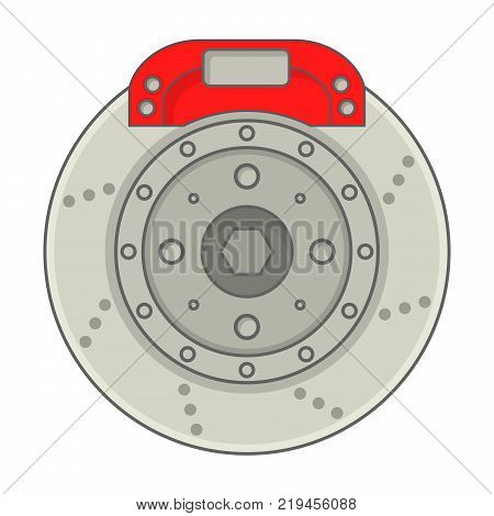Car brakes disk with caliper.Icon repair,auto service,vehicle detail.In flat style vector.Automobile brake system isolated over white background