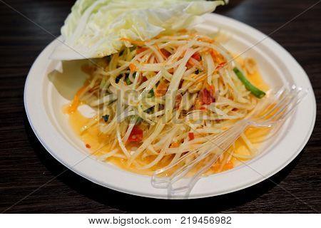 Papaya Salad In Paper Plate Thai Syle Food