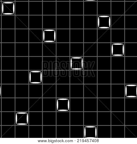 Squares in grid chaotic seamless pattern. Fashion graphic background design. Modern stylish abstract texture. Monochrome template 4 prints textiles wrapping wallpaper website. Vector illustration