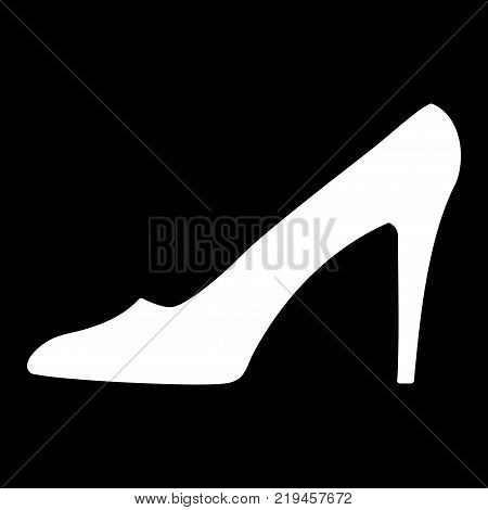Women shoe sign. Image of elegant silhouette. Beautiful white icon isolated on black background. Sexy symbol. Logo for fashion.Stock vector illustration