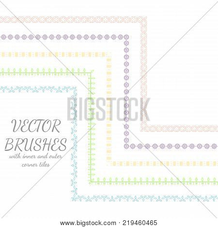 Decorative vector brushes with inner and outer corner tiles.Can use for dividers borders and ornaments.