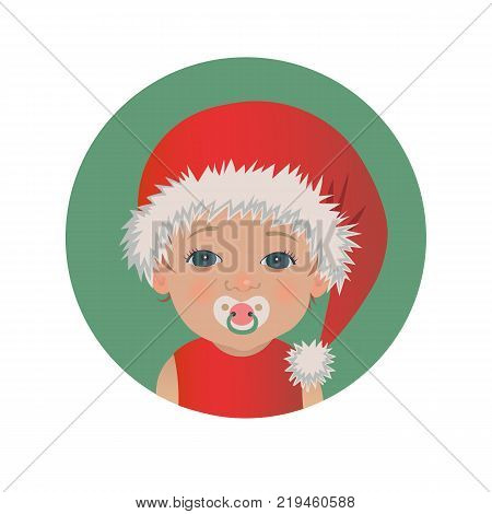 Cute baby Santa Claus emoticon with pacifier. Happy Christmas child with soother emoji. Santa hat kid with dummy avatar  isolated vector illustration