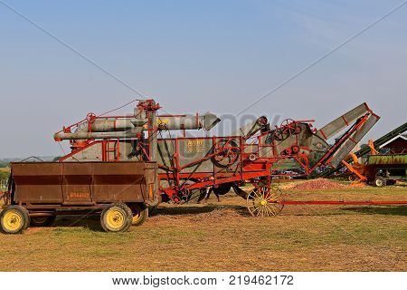 ROLLAG, MINNESOTA, Sept 1, 2017: An old Avery threshing machine and David Bradley wagon box is displayed at the annual WCSTR farm show in Rollag held each Labor Day weekend where 1000`s attend.