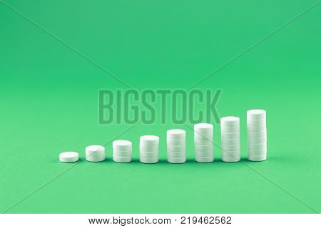 Close Up White Pills And Capsules In Cap On Jade Green Background With Copy Space. Focus On Foregrou