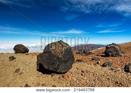 Teide National Park, Tenerife, Canary Islands - A view of `Teide Eggs', or in Spanish `Huevos del Teide'. These accretion balls form as pieces solidified lava roll over a still molten surface.