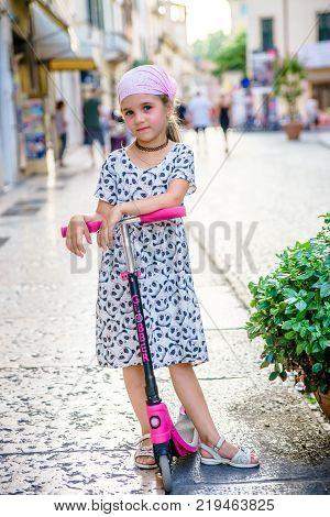 Cute young girl portrait caucasian shite smile
