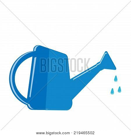 The watering can and water drops. Irrigation symbol icon. Isolated on white background. Vector illustration