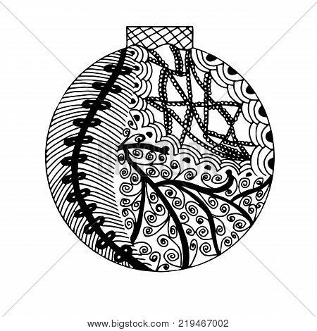 Zentangle inspired handdrawn black and white ball with different pattern elements