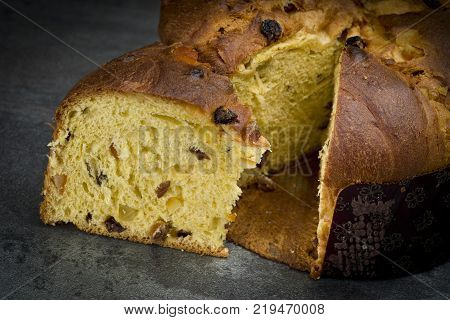 Panettone sweet typical Italian Christmas on holiday background