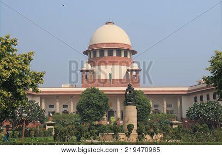 New Delhi India - October 28, 2017: Unidentified People Visit Supreme Court Of India In New Delhi