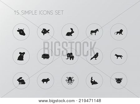 Set of 15 editable zoo icons. Includes symbols such as bull, cow, rabbit and more. Can be used for web, mobile, UI and infographic design.