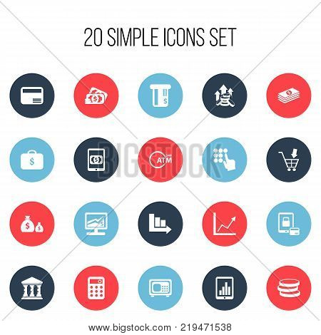 Set of 20 editable finance icons. Includes symbols such as market, e-commerce, diagram and more. Can be used for web, mobile, UI and infographic design.