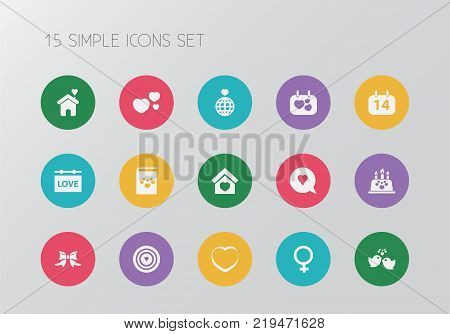 Set of 15 editable amour icons. Includes symbols such as soul, domicile, beau and more. Can be used for web, mobile, UI and infographic design.
