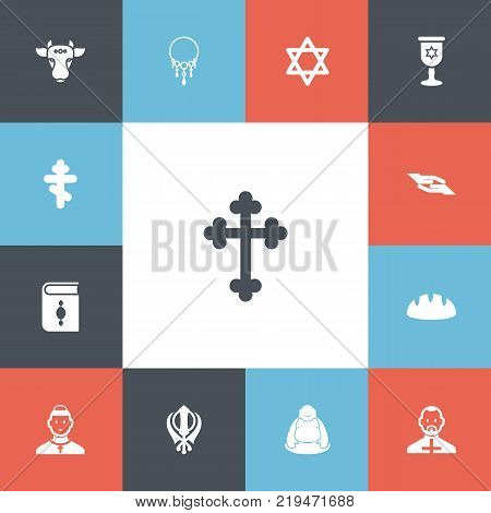 Set of 13 editable religion icons. Includes symbols such as christian cross, cleric, chinese wealth talisman and more. Can be used for web, mobile, UI and infographic design.
