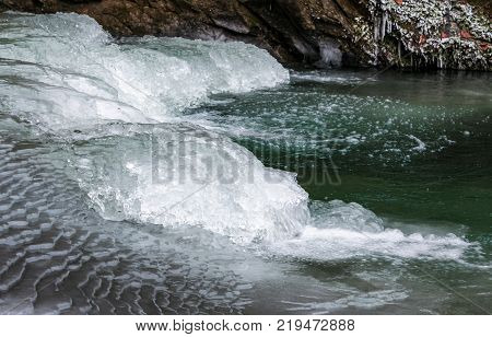 ice on the frozen river with greenish water. lovely nature background in winter