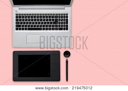 Isolated Shot Of Opened Modern Laptop Computer, Tablet For Retouching And Stylus. Work Place Of Prof