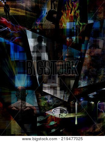 Abstract dimensions. Ideas, perception, power of mind. 3D rendering