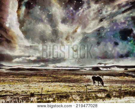 Surreal digital art. Horse grazes in the field. Vivid colorful sky with stars and galaxies. 3D rendering