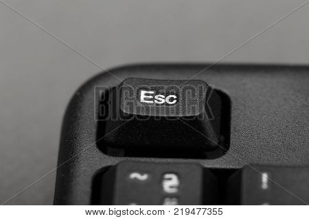 Escape button on the keyboard closeup top view