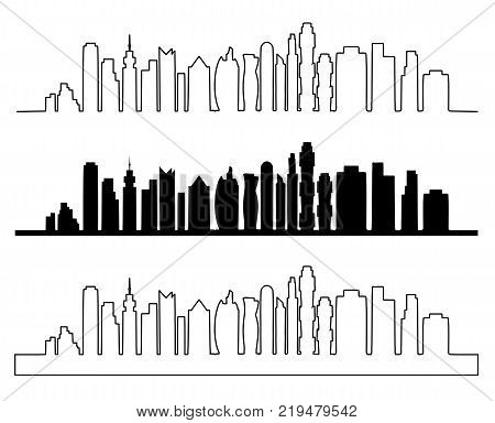 City skyline vector illustration. Urban landscape. Modern city landscape. Cityscape in flat style.