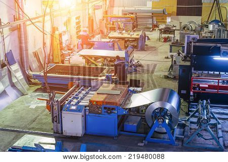 Metalworking factory. Manufacturing of pipes and equipment parts for air ventilation and condition systems.