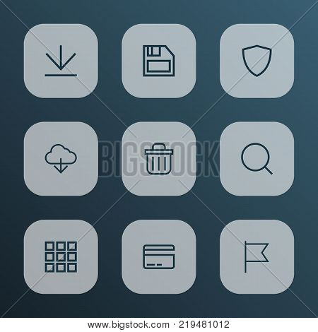 User icons line style set with diskette, protect, search and other down arrow elements. Isolated vector illustration user icons.