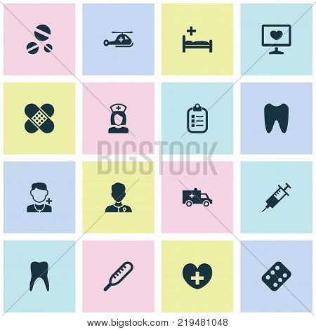 Medicine icons set with dental, ache, remedy and other injection elements. Isolated vector illustration medicine icons.