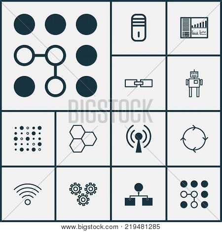 Learning icons set with recurring program, related information, controlling board and other recurring program elements. Isolated vector illustration learning icons.
