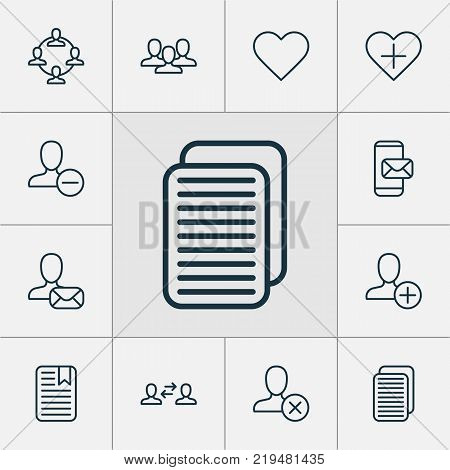 Communication icons set with follow, team organisation, add and other phone messaging elements. Isolated vector illustration communication icons.