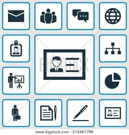 Trade icons set with hierarchy, envelope, presenting man and other identification elements. Isolated vector illustration trade icons.