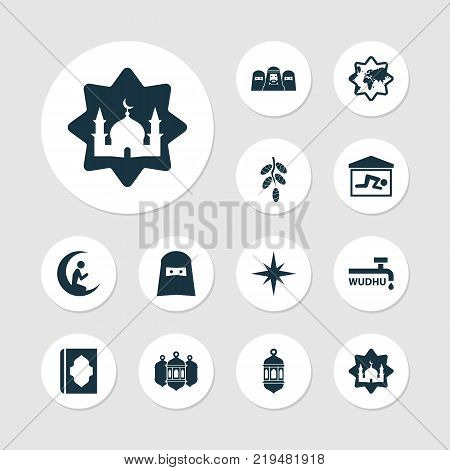 Holiday icons set with mosque, abdest, mosque lantern and other fruit  elements. Isolated vector illustration holiday icons.