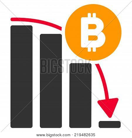 Bitcoin Panic Fall Chart flat vector pictogram. An isolated illustration on a white background.