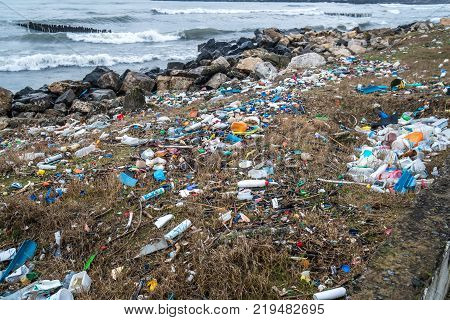 The Problem Of Pollution And Ecology Of The Sea Shore And The Ocean. Garbage On The Coastline And In