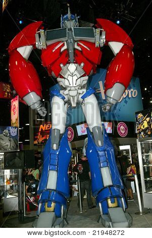 SAN DIEGO, CA - JULY 20: A giant Transformers Optimus Prime robot at the Hasbro booth during preview night at the 2011 Annual Comic Con International convention on July 20, 2011 in San Diego, CA