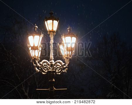Night Winter Street Lamp With Falling Snow. Lanterns in evening park. Beautiful snowfall for Christmas. Snowflakes falling in magical city. Xmas and New Year.