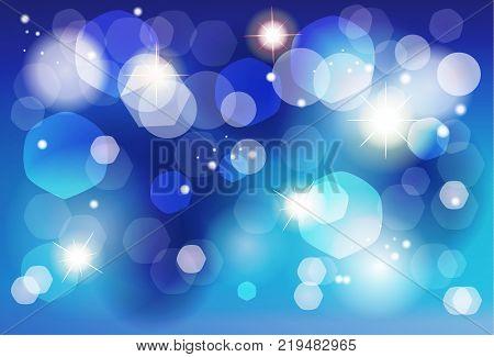 Winter Holiday defocused blue lights greeting card background for christmas decoration, bokeh lights, sparkles, stars background. Vector illustration
