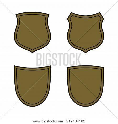 Shield shape bronze icons set. Simple flat logo on white background. Symbol of security protection safety strong. Element badge for secure protect design emblem decoration. Vector illustration