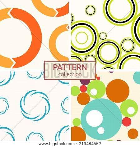 Set of four seamless patterns. Abstract geometrical trendy vector backgrounds. Modern stylish textures of repeating circles dots bubbles circular arrows circular elements.