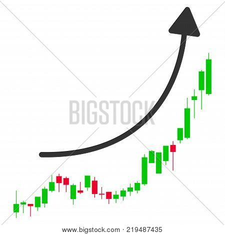 Candlestick Chart Growth Trend flat vector illustration. An isolated illustration on a white background.