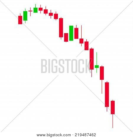 Candlestick Falling Acceleration Chart flat vector pictogram. An isolated illustration on a white background.